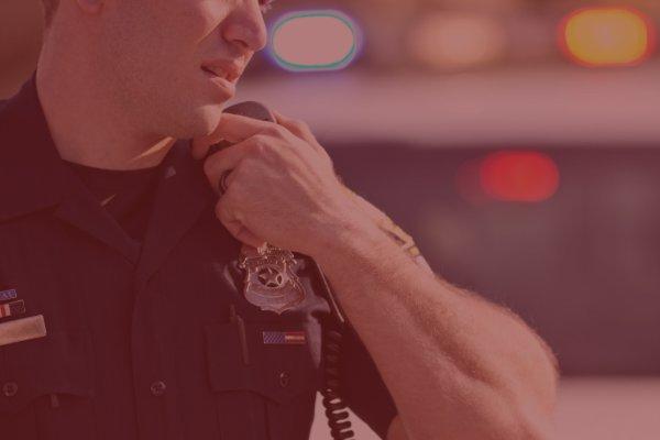 cop talking on radio